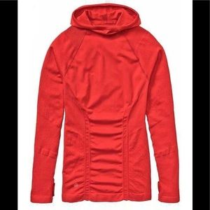 Athleta Tracker Hoodie Large L/S Pullover Coral L